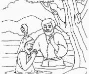 Coloriage Baptême de Jésus dans le Fleuve
