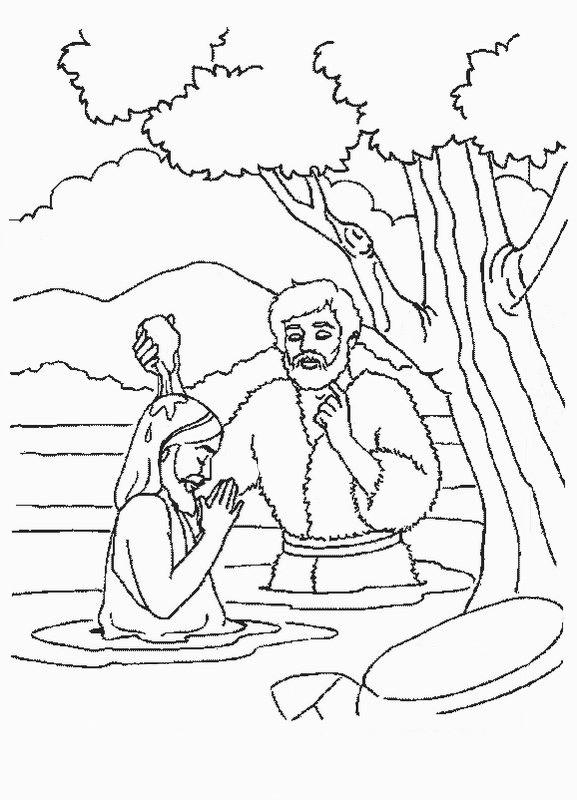 Coloriage et dessins gratuits Baptême de Jésus dans le Fleuve à imprimer