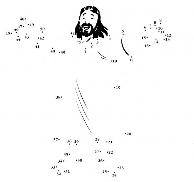 Coloriage et dessins gratuits Jésus à compléter à imprimer