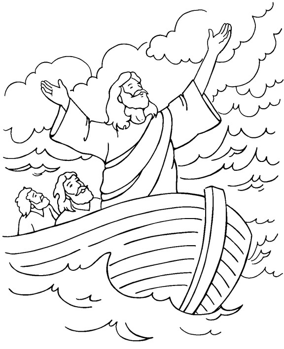 Coloriage et dessins gratuits Jésus avec ses disciples dans Le Navire à imprimer