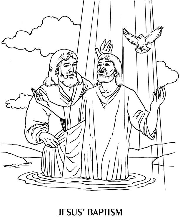 Coloriage et dessins gratuits Jésus Baptême à imprimer
