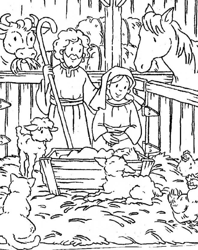Coloriage et dessins gratuits Jésus Bébé dans La Ferme à imprimer