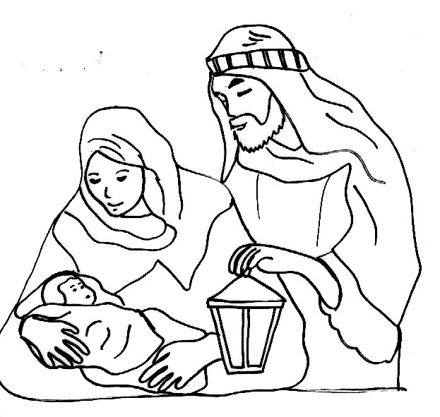 Coloriage et dessins gratuits Jésus Bébé et Joseph à imprimer
