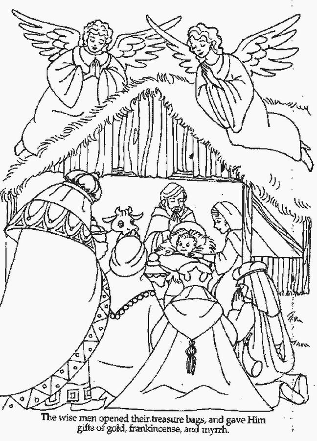 Coloriage et dessins gratuits Jésus Bébé et Les Anges à imprimer