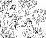Coloriage et dessins gratuit Jésus Christ à découper à imprimer