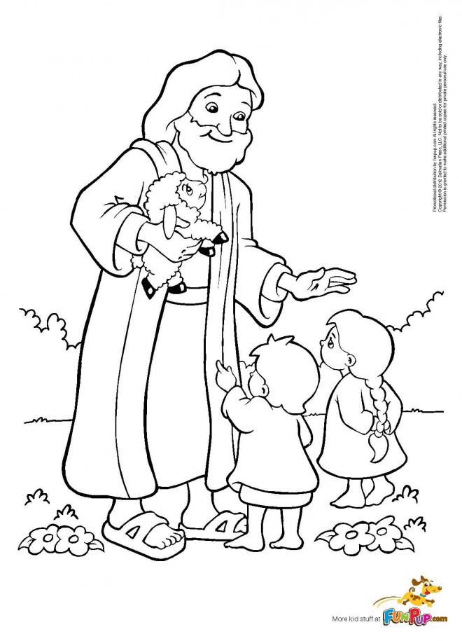 Coloriage et dessins gratuits Jésus Christ enseigne Les Enfants à imprimer