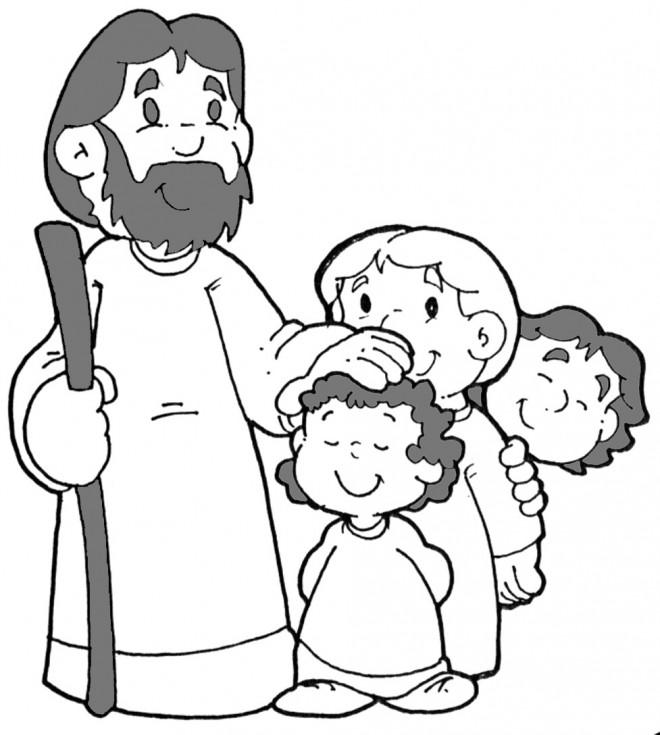 Coloriage et dessins gratuits Jésus Christ et Les Enfants en Ligne à imprimer