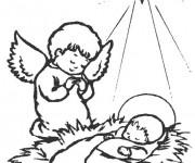 Coloriage et dessins gratuit Jésus crèche à imprimer