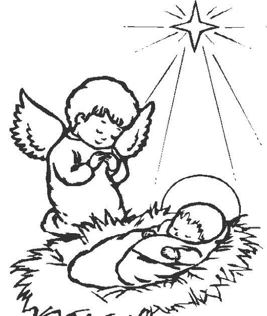 Coloriage Jésus crèche dessin gratuit à imprimer