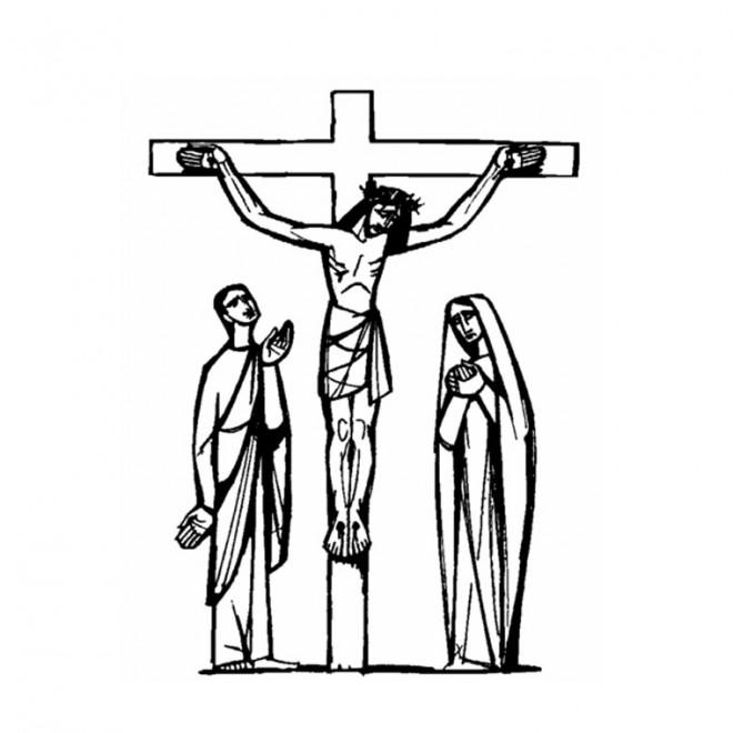 Coloriage et dessins gratuits jésus crucifié Artistique à imprimer