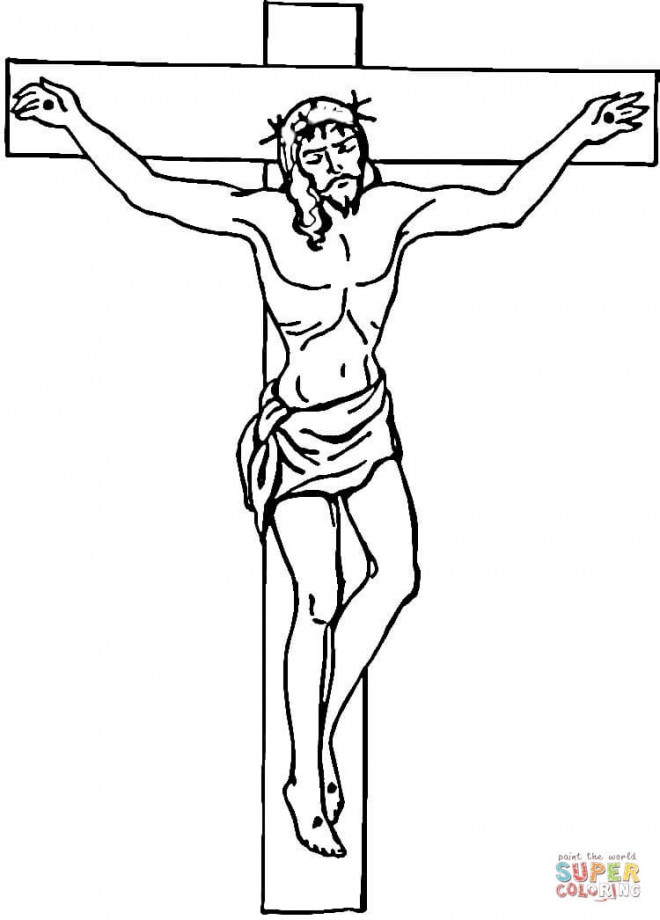 Coloriage et dessins gratuits Jesus crucifié sur ordinateur à imprimer