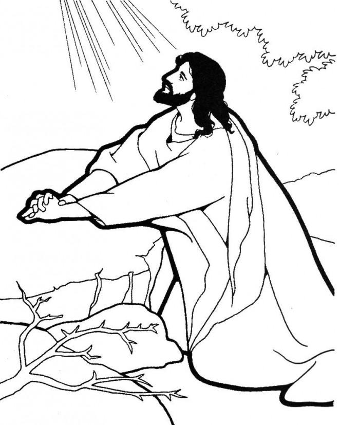 Coloriage et dessins gratuits Jésus de Nazareth s'adresse à Dieu à imprimer