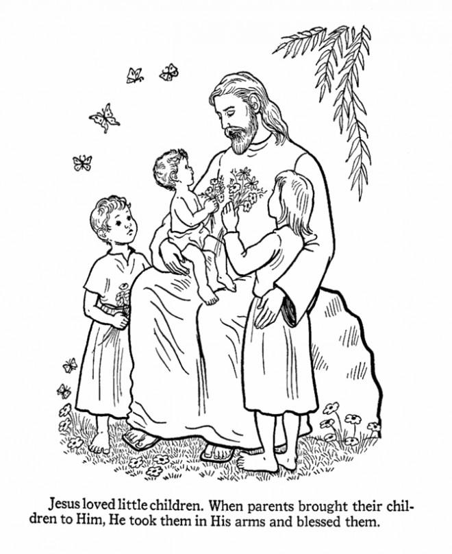 Coloriage et dessins gratuits Jésus entouré par des Enfants à imprimer
