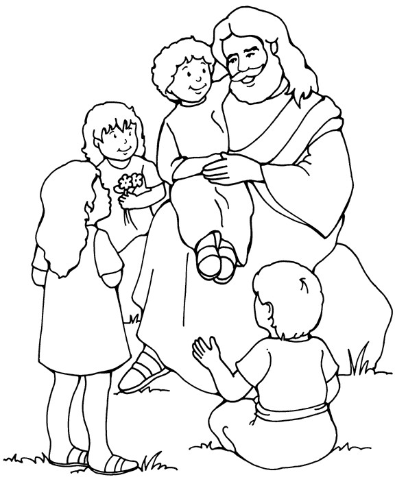 Coloriage et dessins gratuits Jésus et Enfants à télécharger à imprimer