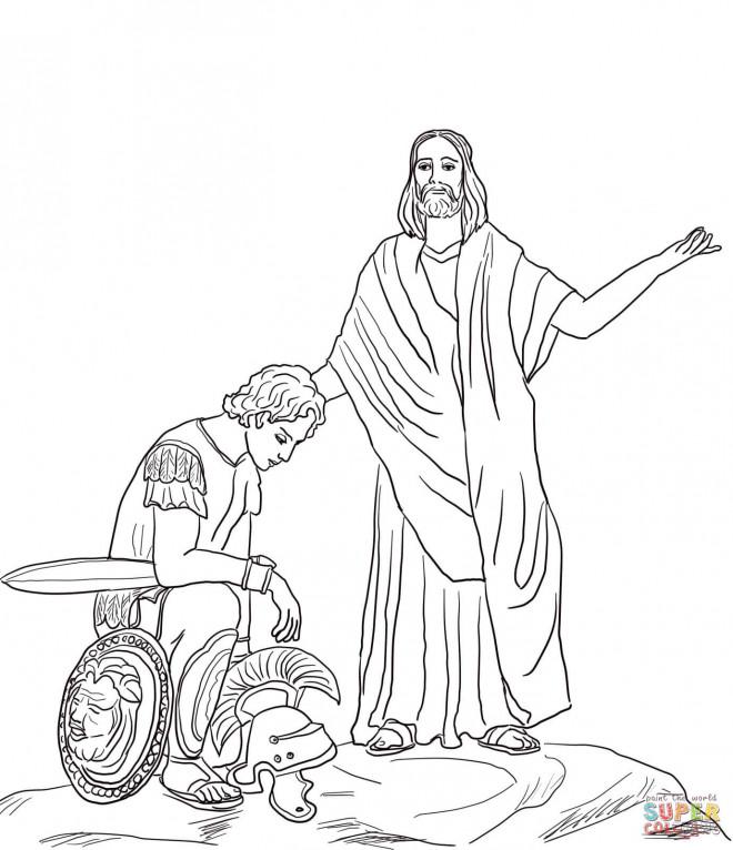Coloriage et dessins gratuits Jésus et Le Soldat Romain à imprimer