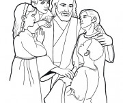 Coloriage et dessins gratuit Jésus et Les Enfants à imprimer