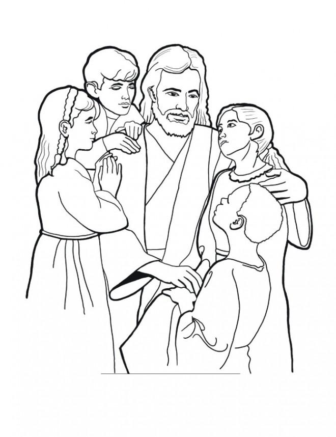 Coloriage et dessins gratuits Jésus et Les Enfants à imprimer