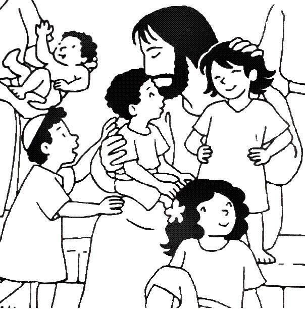 Coloriage et dessins gratuits Jésus et Les Enfants en noir et blanc à imprimer