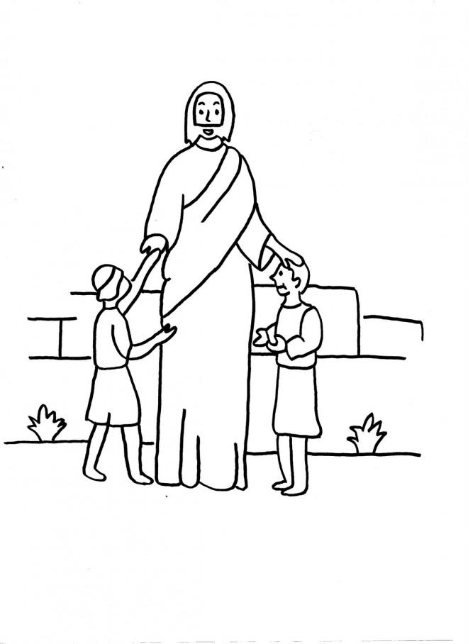 Coloriage et dessins gratuits Jésus et Les Petits à imprimer