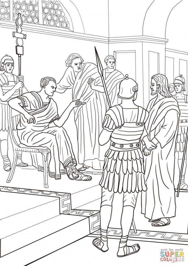 Coloriage et dessins gratuits jésus et les Romains à imprimer