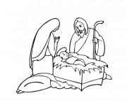 Coloriage Jésus et Marie