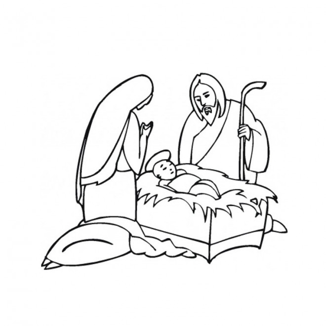 Coloriage et dessins gratuits Jésus et Marie à imprimer