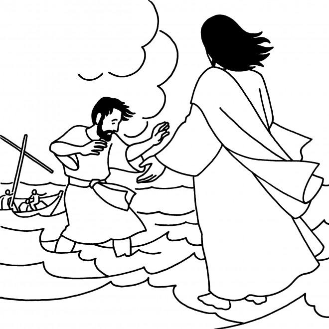 Coloriage et dessins gratuits Jésus et ses Disciples dans La Mer à imprimer