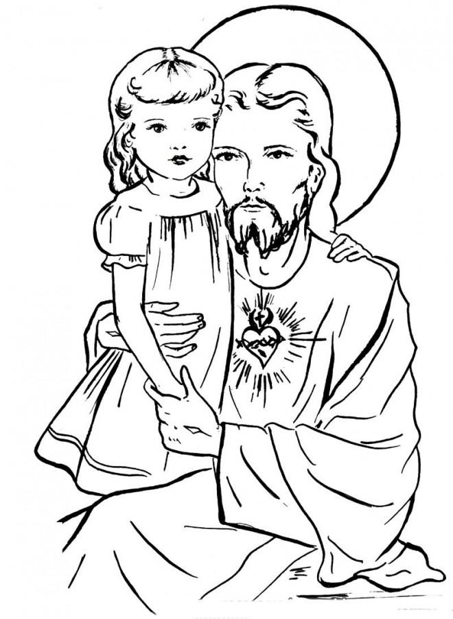 Coloriage et dessins gratuits Jésus et Une petite Fille à imprimer