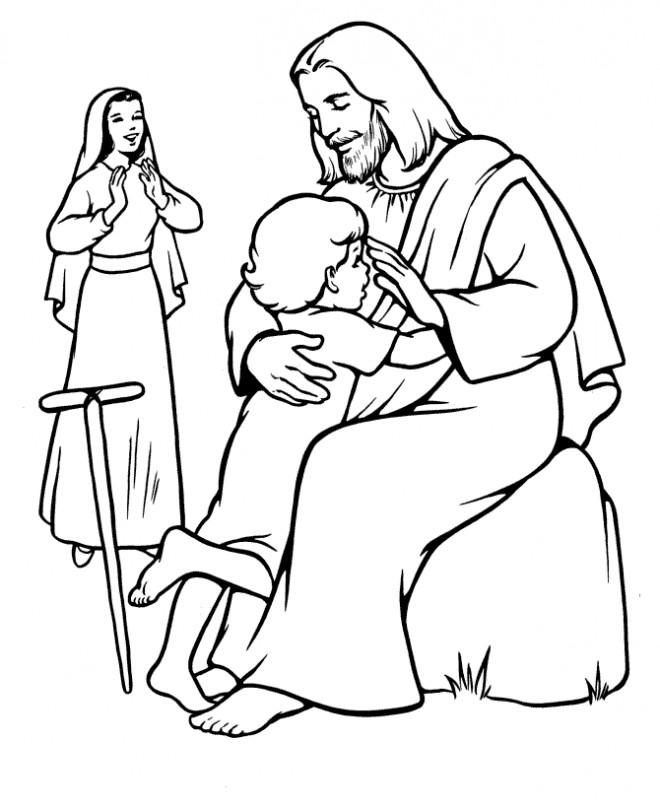 Coloriage et dessins gratuits Jésus le Seigneur avec Un Enfant à imprimer