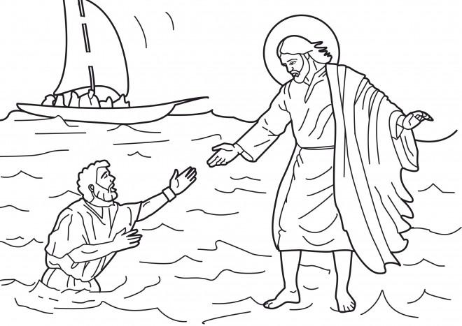 Coloriage et dessins gratuits Jésus marche sur La Mer à imprimer