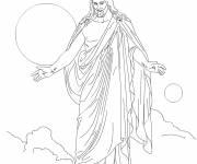 Coloriage et dessins gratuit Jésus prie à imprimer