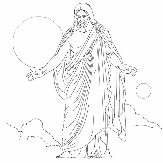 Coloriage et dessins gratuits Jésus prie à imprimer