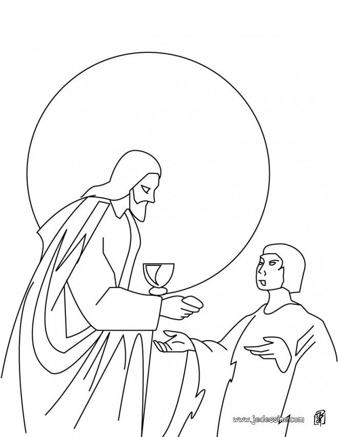 Coloriage et dessins gratuits Jésus stylisé en couleur à imprimer
