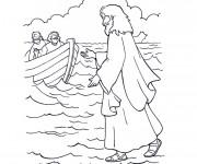 Coloriage et dessins gratuit Jésus sur La Mer à imprimer
