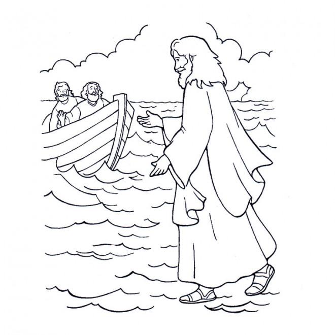 Coloriage et dessins gratuits Jésus sur La Mer à imprimer