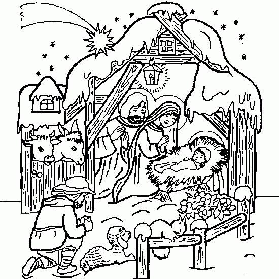 Coloriage et dessins gratuits Joseph et Marie supervisent Le Petit Jésus à imprimer
