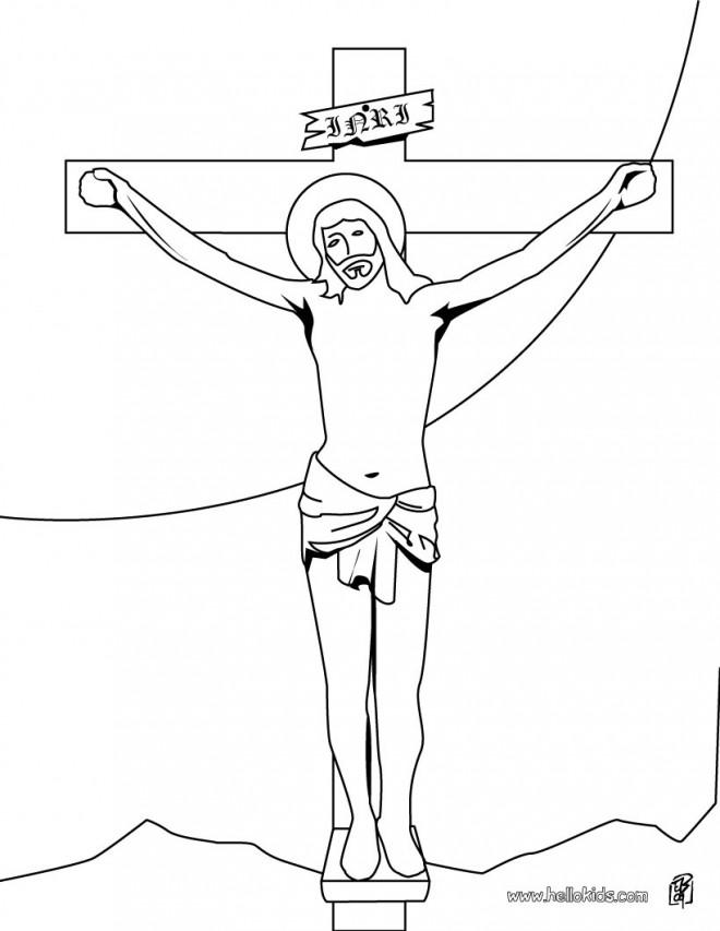 Coloriage et dessins gratuits Le Crucifiement de Jésus à imprimer