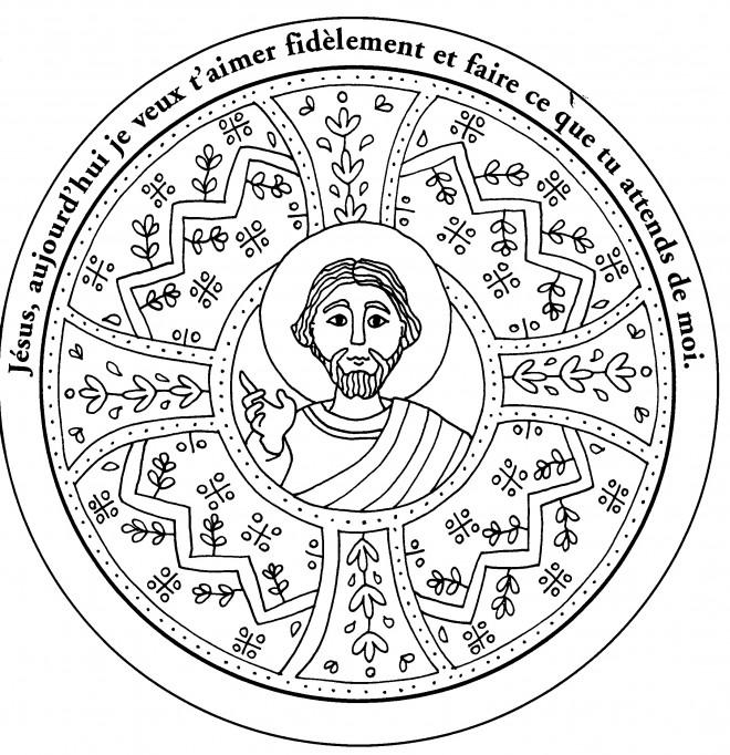 Coloriage et dessins gratuits Mandala Jésus à imprimer