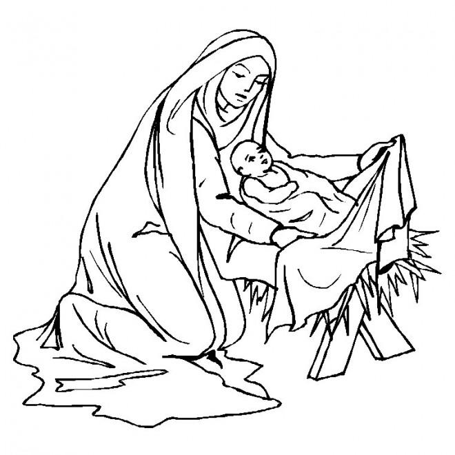 Coloriage et dessins gratuits Marie et Le Petit Jésus à imprimer