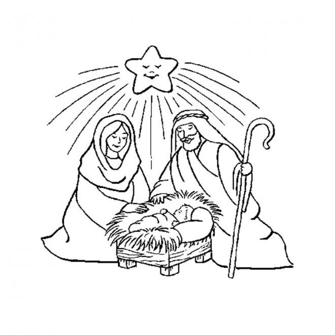 Coloriage et dessins gratuits Marie Joseph et Jésus à imprimer