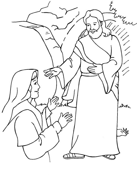 Coloriage et dessins gratuits Paysage de Jésus et une Femme à imprimer