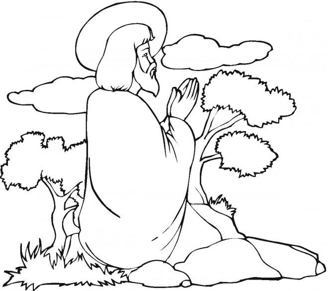 Coloriage et dessins gratuits Prière de Jésus à imprimer