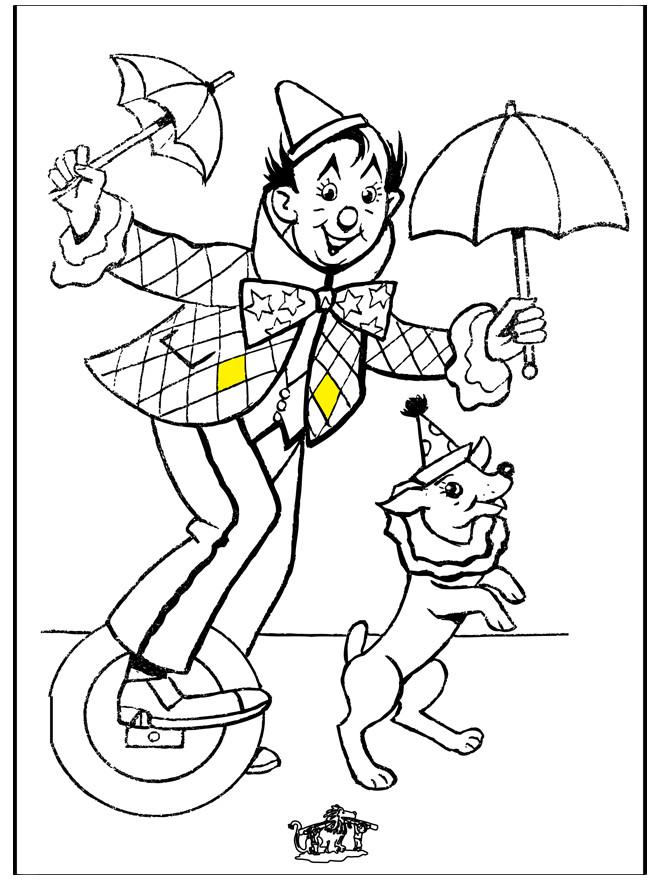 Coloriage et dessins gratuits Acrobate et son Chien à imprimer