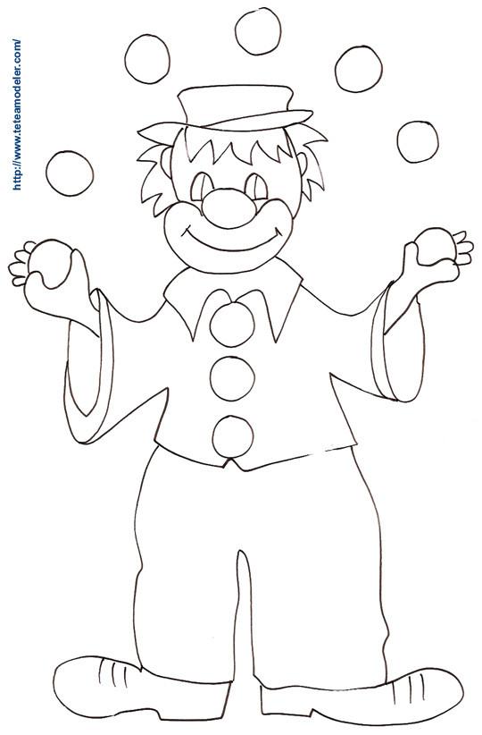 Coloriage et dessins gratuits Clown jongleur avec des boules à imprimer