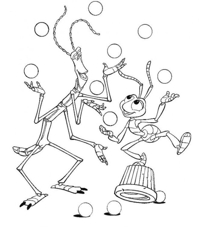 Coloriage et dessins gratuits Fourmi Jongleur Disney à imprimer