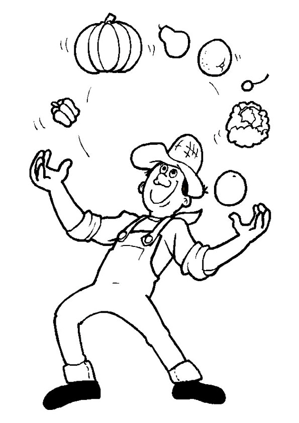 Coloriage et dessins gratuits Jongleur de Légumes à imprimer
