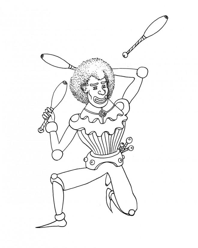 Coloriage et dessins gratuits Jongleur en noir et blanc à imprimer
