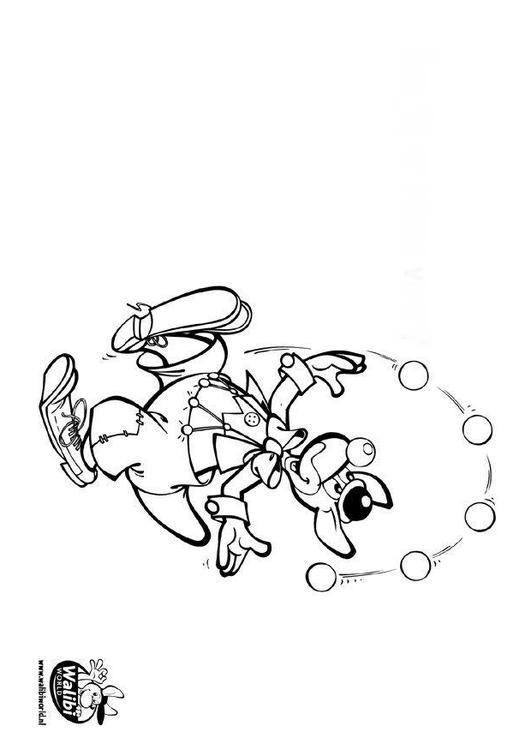 Coloriage et dessins gratuits Jongleur kangourou à imprimer