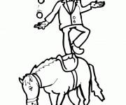 Coloriage Jongleur sur Cheval