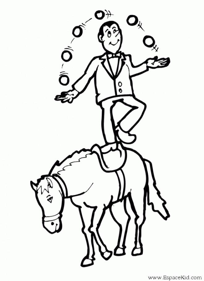 Coloriage et dessins gratuits Jongleur sur Cheval à imprimer